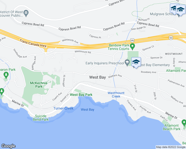 map of restaurants, bars, coffee shops, grocery stores, and more near 3363 Mathers Avenue in West Vancouver