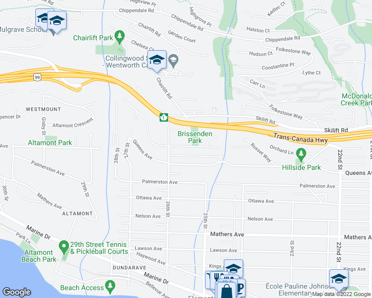 map of restaurants, bars, coffee shops, grocery stores, and more near 2558 Rosebery Avenue in West Vancouver