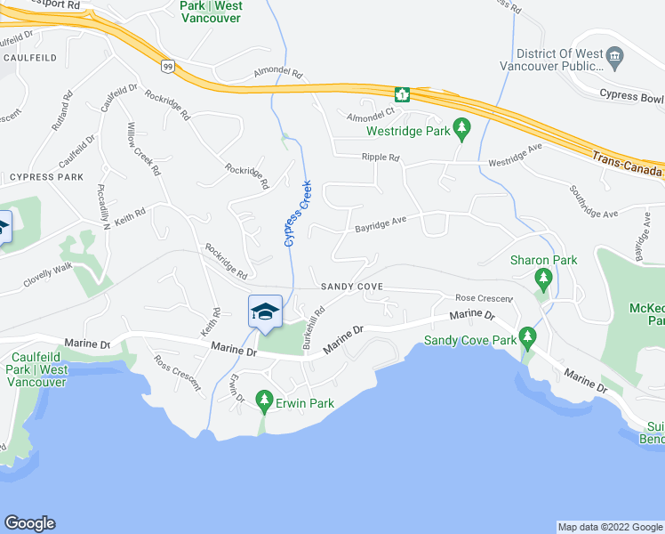 map of restaurants, bars, coffee shops, grocery stores, and more near 4110 Burkehill Road in West Vancouver