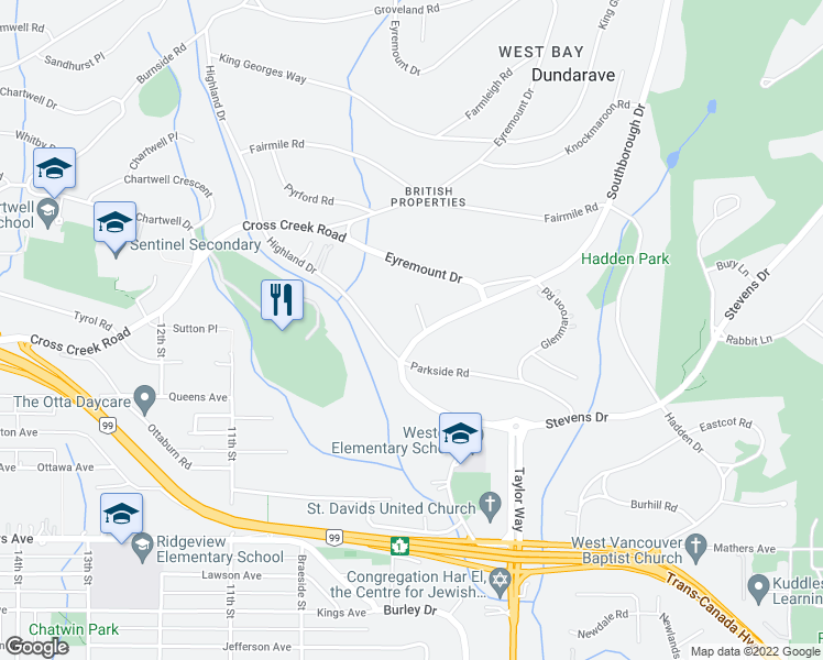 map of restaurants, bars, coffee shops, grocery stores, and more near 729 Biddesden Place in West Vancouver