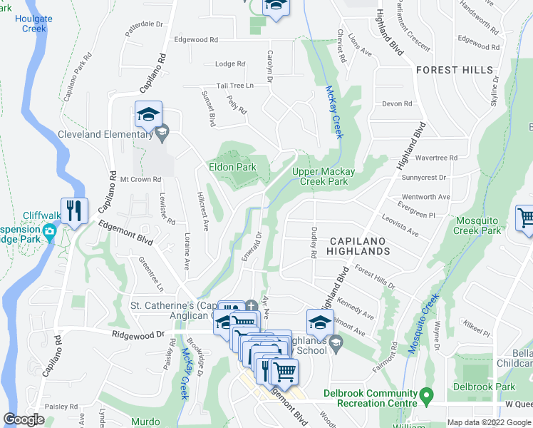 map of restaurants, bars, coffee shops, grocery stores, and more near 3842 Emerald Drive in North Vancouver