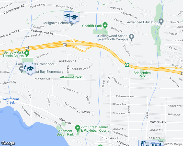 map of restaurants, bars, coffee shops, grocery stores, and more near 2915 Tower Hill in West Vancouver