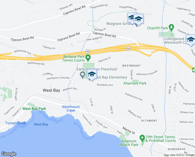 map of restaurants, bars, coffee shops, grocery stores, and more near 3082 Spencer Place in West Vancouver