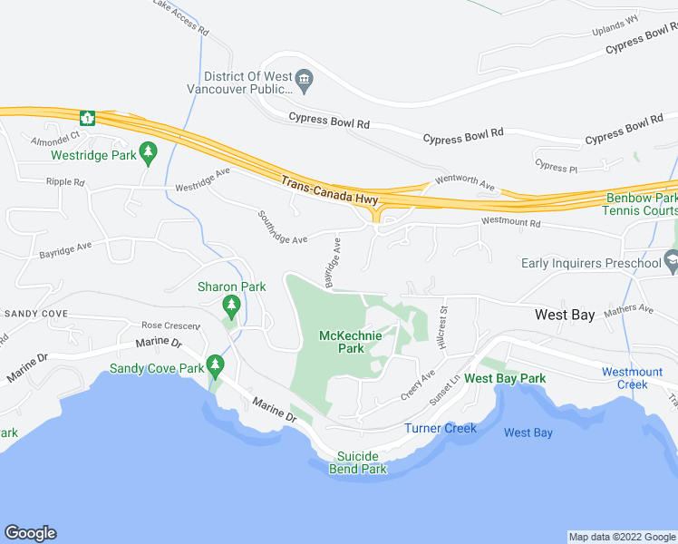 map of restaurants, bars, coffee shops, grocery stores, and more near 3780 Bayridge Avenue in West Vancouver