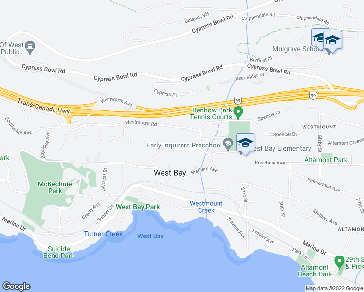 map of restaurants, bars, coffee shops, grocery stores, and more near 3305 Craigend in West Vancouver