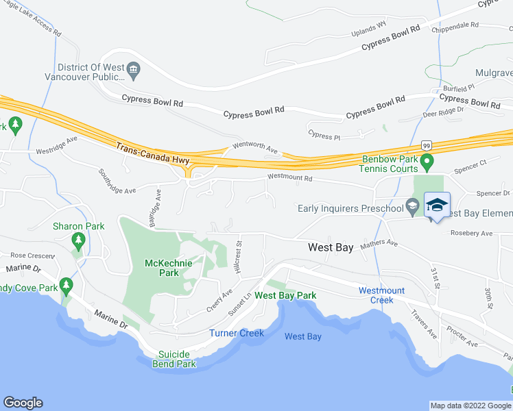 map of restaurants, bars, coffee shops, grocery stores, and more near 3584 Rockview Place in West Vancouver