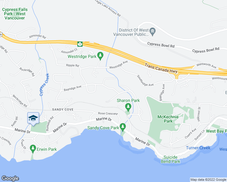 map of restaurants, bars, coffee shops, grocery stores, and more near 3980 Bayridge Avenue in West Vancouver