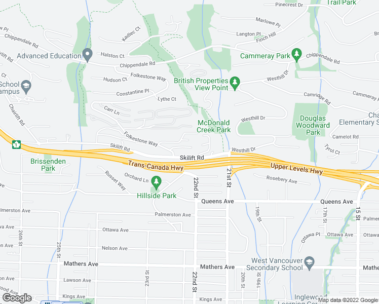 map of restaurants, bars, coffee shops, grocery stores, and more near 2206 Folkestone Way in West Vancouver