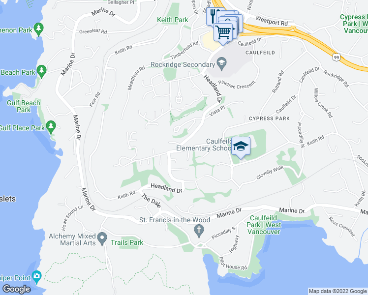 map of restaurants, bars, coffee shops, grocery stores, and more near 4820 Headland Drive in West Vancouver