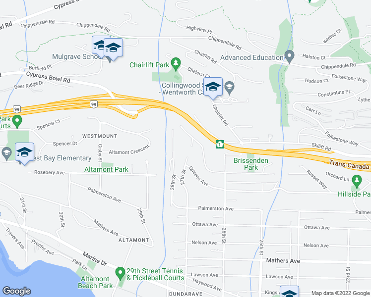 map of restaurants, bars, coffee shops, grocery stores, and more near 2720 Rosebery Avenue in West Vancouver