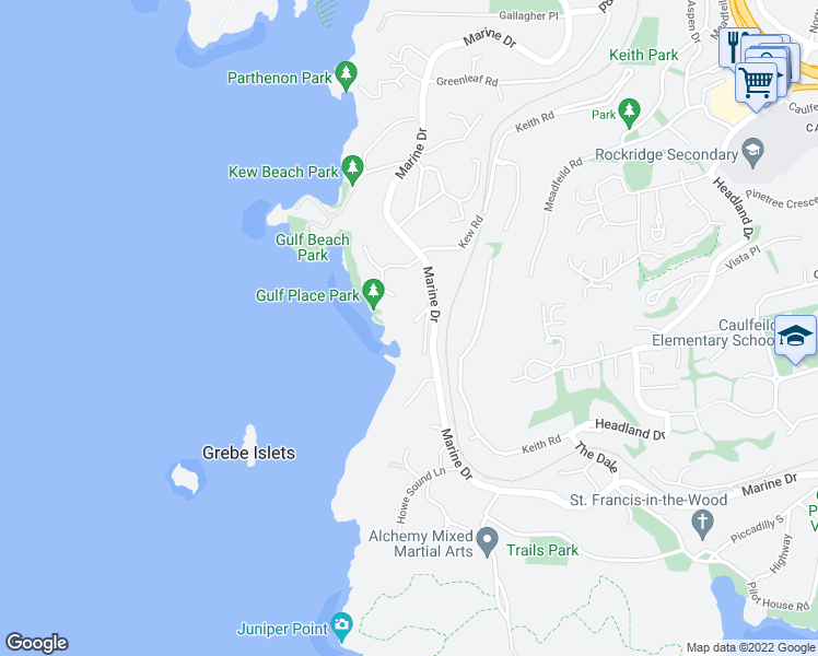 map of restaurants, bars, coffee shops, grocery stores, and more near 5240 Marine Drive in West Vancouver