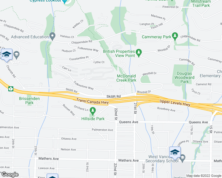 map of restaurants, bars, coffee shops, grocery stores, and more near 2214 Folkestone Way in West Vancouver