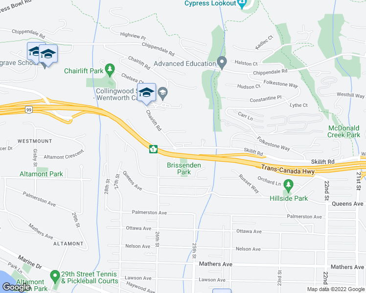 map of restaurants, bars, coffee shops, grocery stores, and more near 2555 Skilift Road in West Vancouver