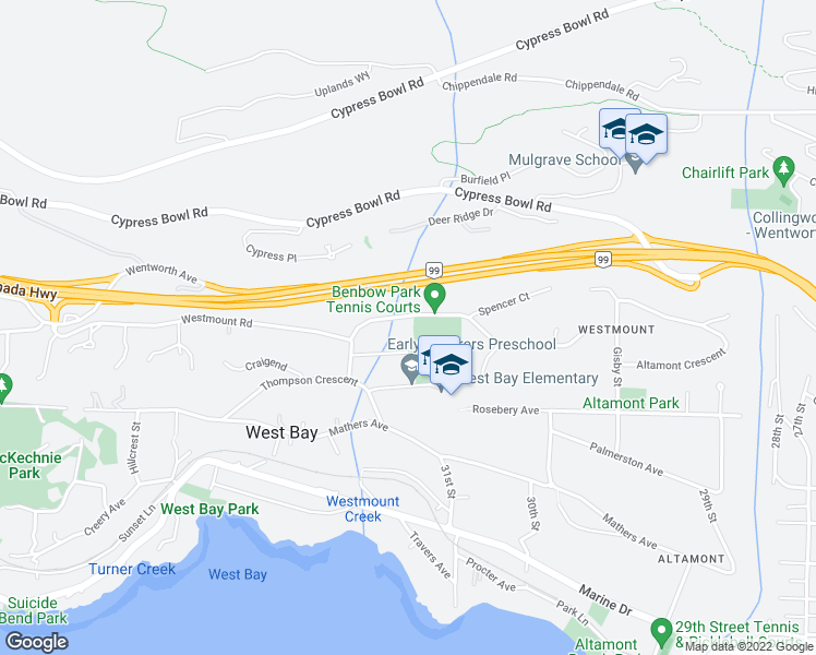 map of restaurants, bars, coffee shops, grocery stores, and more near 3150 Benbow Road in West Vancouver