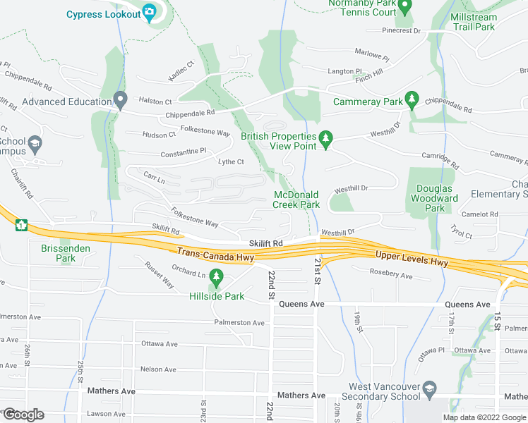 map of restaurants, bars, coffee shops, grocery stores, and more near 2216 Folkestone Way in West Vancouver