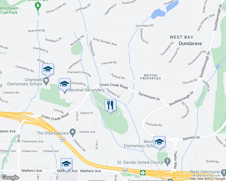 map of restaurants, bars, coffee shops, grocery stores, and more near 935 Highland Drive in West Vancouver