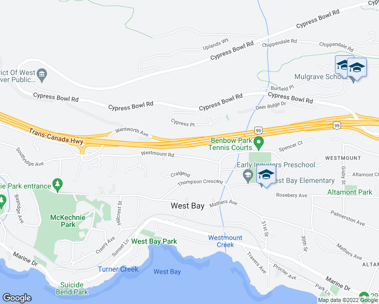 map of restaurants, bars, coffee shops, grocery stores, and more near 3315 Westmount Road in West Vancouver