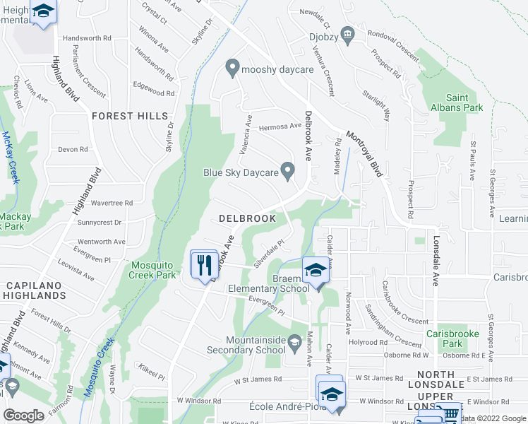 map of restaurants, bars, coffee shops, grocery stores, and more near 3990 Delbrook Avenue in North Vancouver