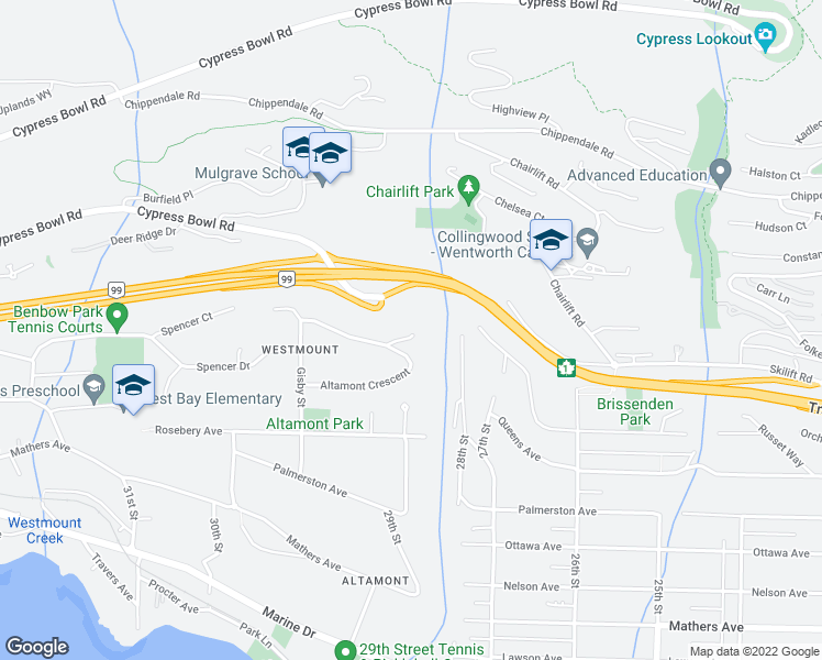 map of restaurants, bars, coffee shops, grocery stores, and more near 2939 Altamont Place in West Vancouver