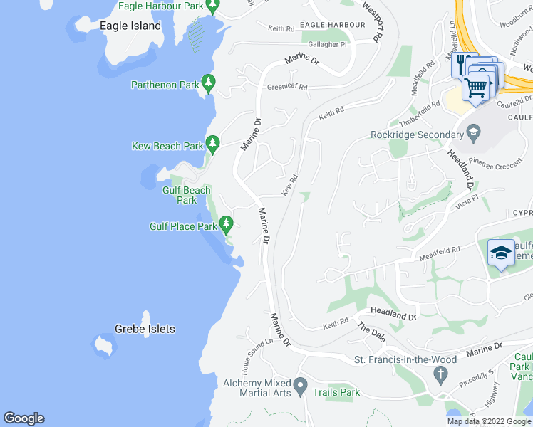 map of restaurants, bars, coffee shops, grocery stores, and more near 5305 Marine Drive in West Vancouver
