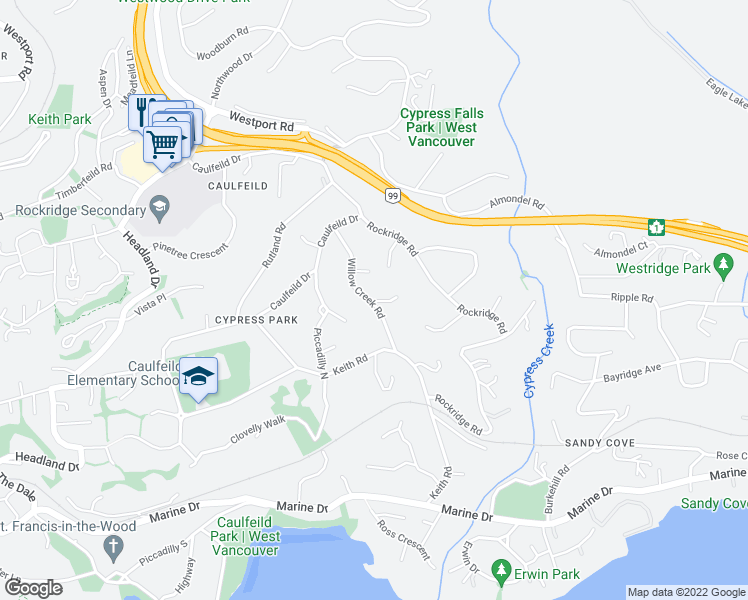 map of restaurants, bars, coffee shops, grocery stores, and more near 4664 Willow Creek Road in West Vancouver