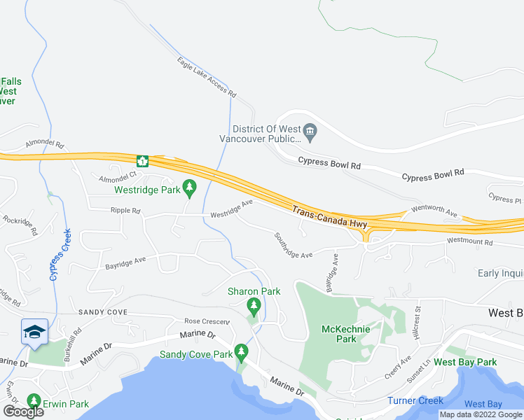 map of restaurants, bars, coffee shops, grocery stores, and more near 3902 Westridge Avenue in West Vancouver