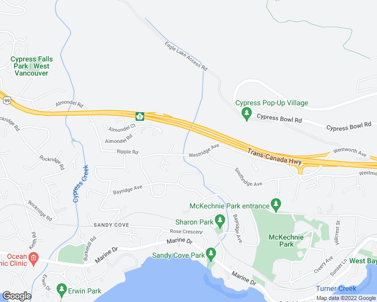 map of restaurants, bars, coffee shops, grocery stores, and more near 3933 Westridge Avenue in West Vancouver