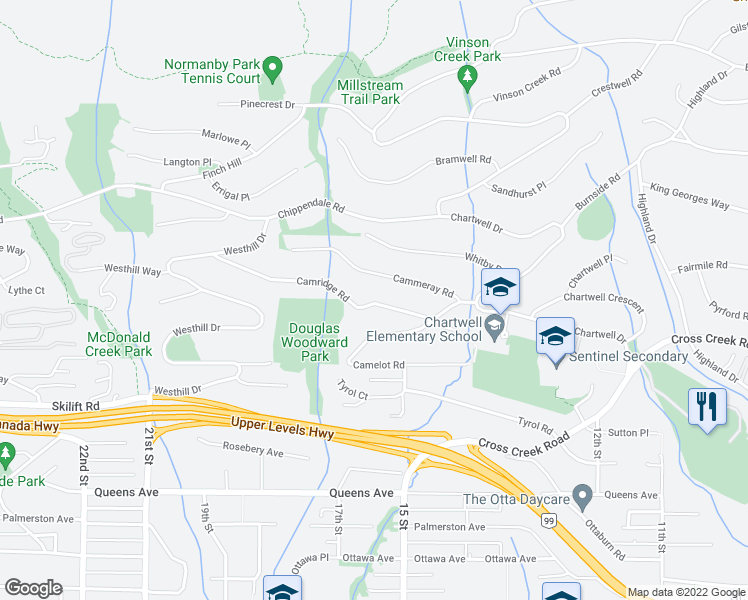 map of restaurants, bars, coffee shops, grocery stores, and more near 1339 Camridge Road in West Vancouver