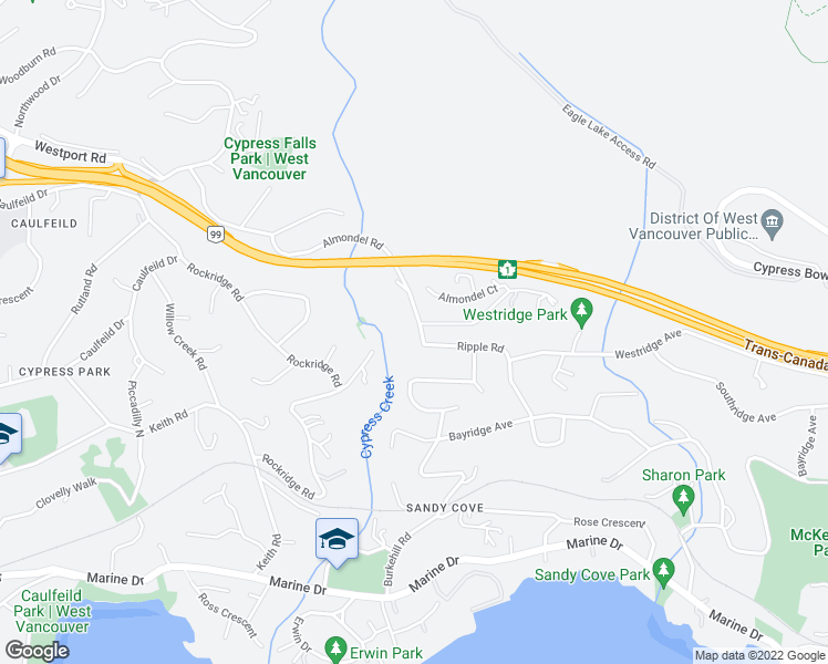 map of restaurants, bars, coffee shops, grocery stores, and more near 4170 Ripple Road in West Vancouver