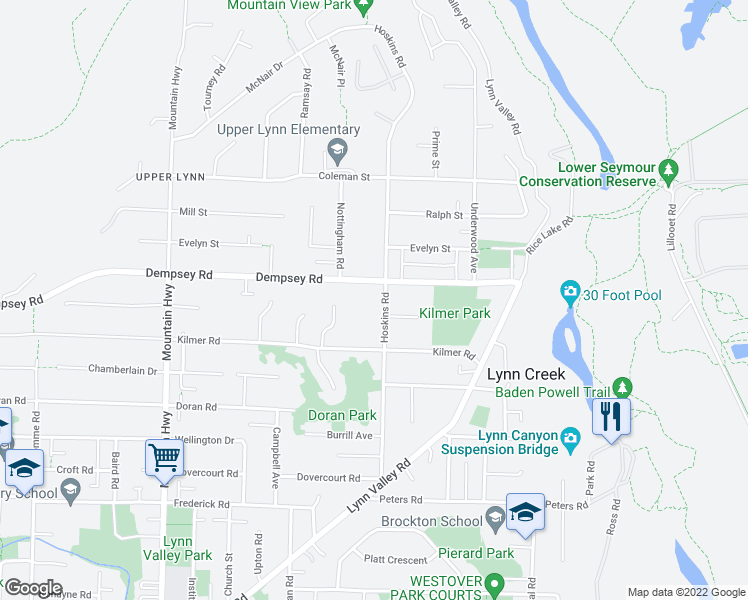 map of restaurants, bars, coffee shops, grocery stores, and more near 4155 Hoskins Road in North Vancouver