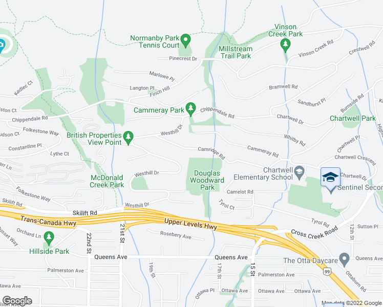 map of restaurants, bars, coffee shops, grocery stores, and more near 1394 Camridge Road in West Vancouver