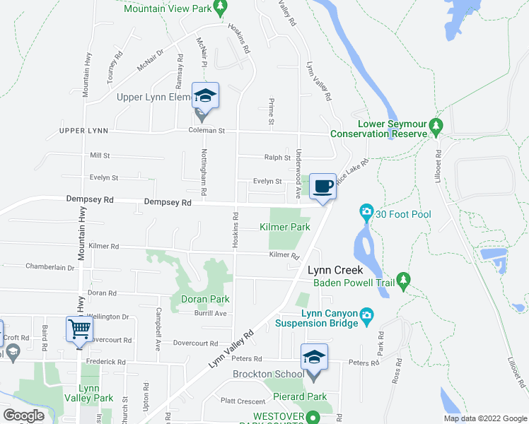 map of restaurants, bars, coffee shops, grocery stores, and more near 1645 Dempsey Road in North Vancouver