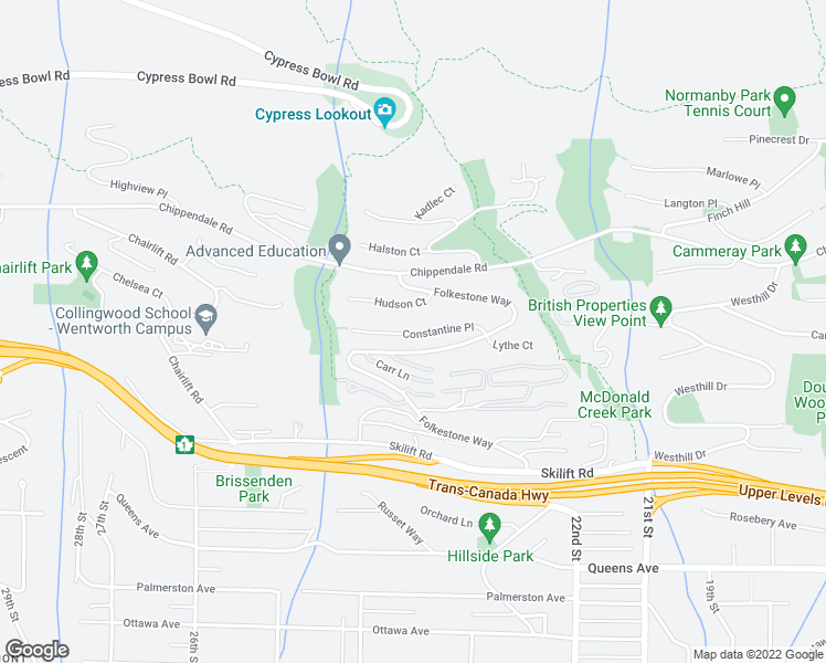 map of restaurants, bars, coffee shops, grocery stores, and more near 2357 Constantine Place in West Vancouver