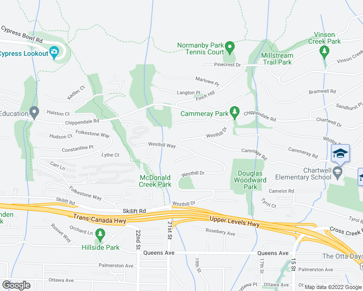 map of restaurants, bars, coffee shops, grocery stores, and more near 2520 Westhill Drive in West Vancouver