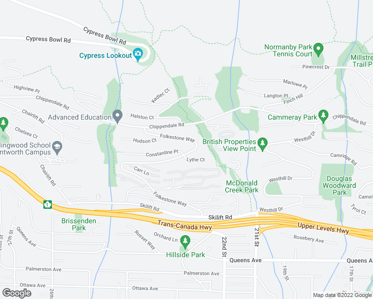 map of restaurants, bars, coffee shops, grocery stores, and more near 2603 Folkestone Way in West Vancouver