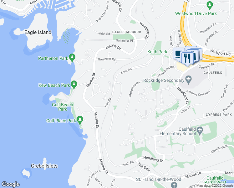 map of restaurants, bars, coffee shops, grocery stores, and more near 5341 Montiverdi Place in West Vancouver