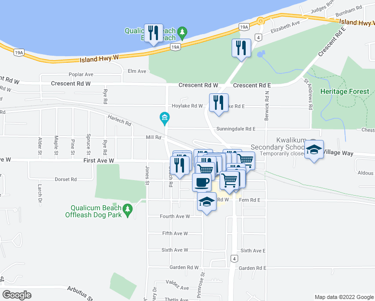 map of restaurants, bars, coffee shops, grocery stores, and more near 148 Harlech Road in Qualicum Beach