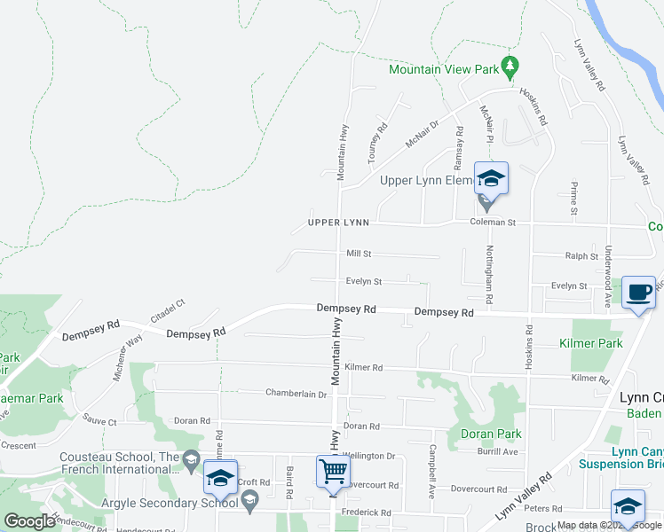 map of restaurants, bars, coffee shops, grocery stores, and more near 4365 Mountain Highway in North Vancouver