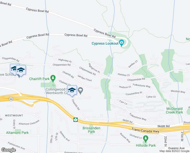 map of restaurants, bars, coffee shops, grocery stores, and more near 2526 Chippendale Road in West Vancouver