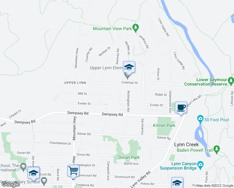 map of restaurants, bars, coffee shops, grocery stores, and more near 4361 Ruth Crescent in North Vancouver