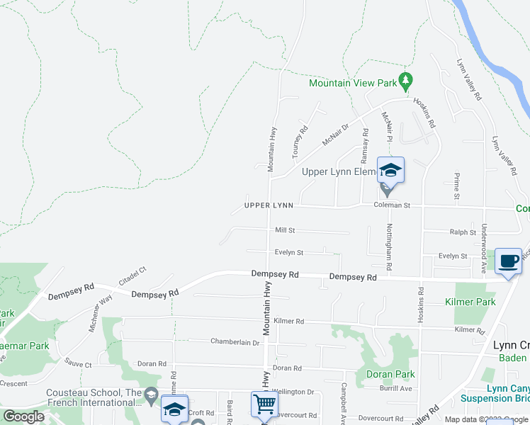 map of restaurants, bars, coffee shops, grocery stores, and more near 4485 Mountain Highway in North Vancouver