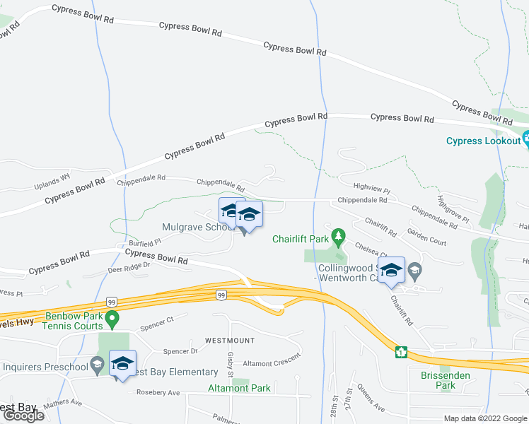 map of restaurants, bars, coffee shops, grocery stores, and more near Rodgers Creek in West Vancouver