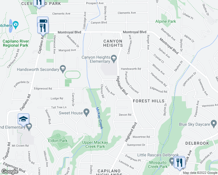 map of restaurants, bars, coffee shops, grocery stores, and more near 4408 Lions Avenue in North Vancouver
