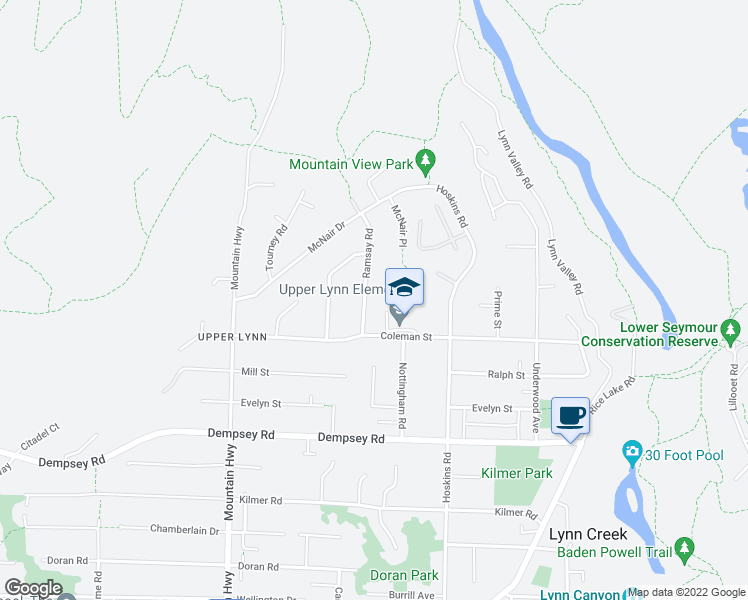 map of restaurants, bars, coffee shops, grocery stores, and more near 4560 Ramsay Road in North Vancouver