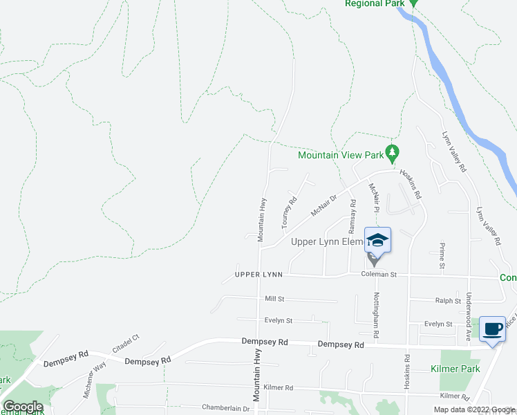 map of restaurants, bars, coffee shops, grocery stores, and more near 4657 Mountain Highway in North Vancouver