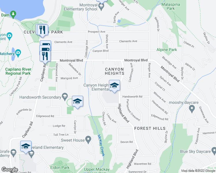 map of restaurants, bars, coffee shops, grocery stores, and more near 961 Belvista Crescent in North Vancouver