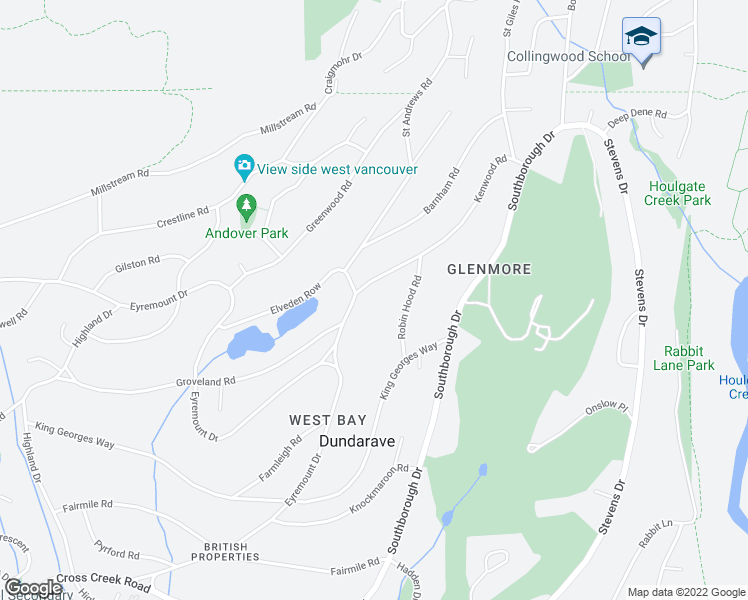 map of restaurants, bars, coffee shops, grocery stores, and more near 810 Kenwood Road in West Vancouver
