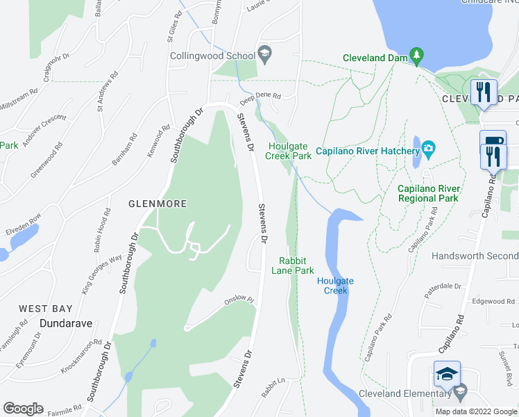 map of restaurants, bars, coffee shops, grocery stores, and more near 181 Stevens Drive in West Vancouver