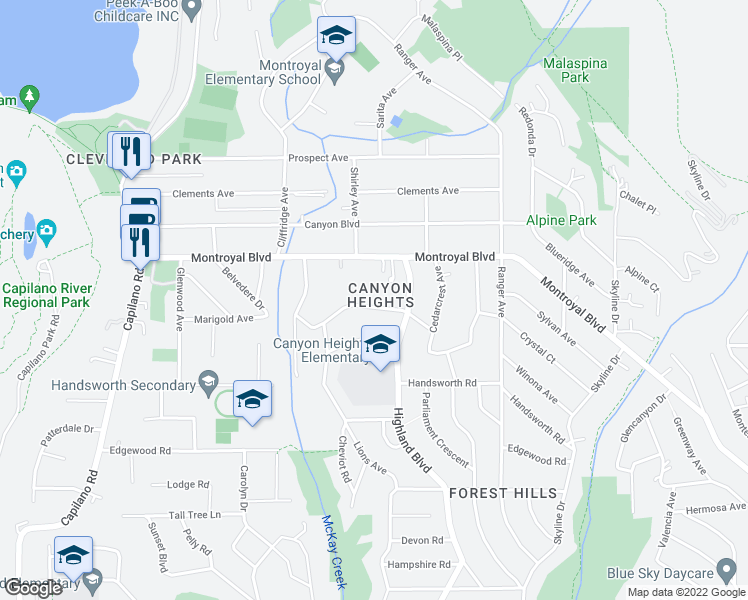 map of restaurants, bars, coffee shops, grocery stores, and more near 950 Belvedere Drive in North Vancouver