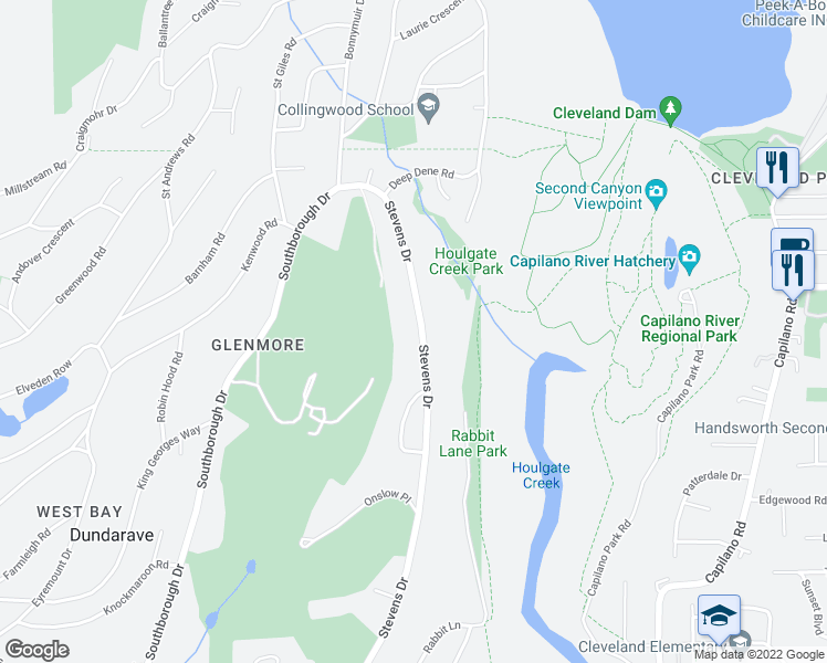 map of restaurants, bars, coffee shops, grocery stores, and more near 171 Stevens Drive in West Vancouver